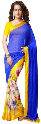 Fashion Priya Fashion Self Design Bollywood Georgette Sari (Blue)