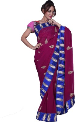 Fashion Noshaba Self Design Fashion Georgette Sari (Multicolor)