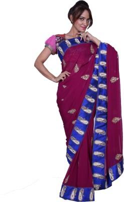 Fashion Noshaba Self Design Fashion Georgette Sari (Multicolor)