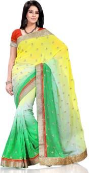 Hemakshi Self Design, Solid Bollywood Georgette Sari