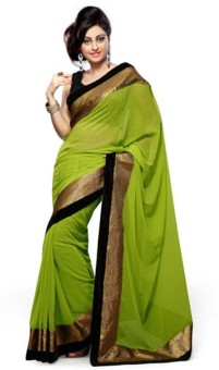 Touch Fashion Plain, Embriodered Bollywood Georgette Sari