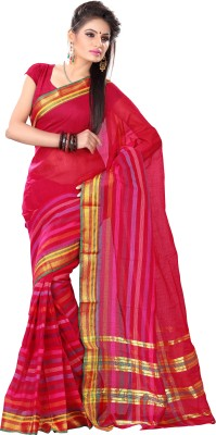 Deshna Deshna Self Design, Striped Fashion Handloom Cotton Sari (Red)