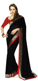 Red Apple Plain Fashion Chiffon Sari