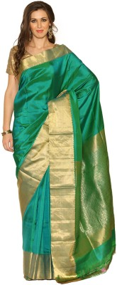 Rangoli Rangoli Self Design Fashion Silk Sari (Green)