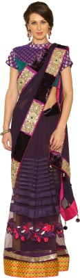 Fashion Senses Self Design Fashion Net, Georgette Sari (Violet)