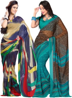 Combo Deals Printed Fashion Georgette Sari Pack Of 2