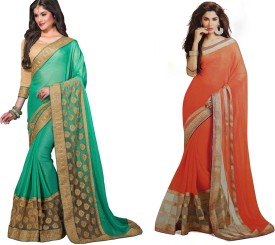 Ma Solid Fashion Georgette, Georgette Sari Pack Of 2
