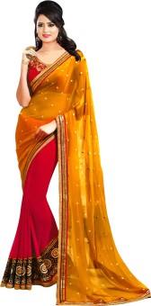 Pink Buddha Self Design Bollywood Georgette Sari