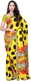 Fabdeal Polka Print, Floral Print Georgette Sari