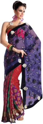 Fabdeal Printed Embroidered Embellished Net Sari available at Flipkart for Rs.6672