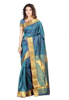 Varkala Silk Sarees Floral Print Kanjivaram Jacquard Sari
