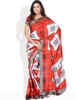 Vichitra Checkered Synthetic Sari