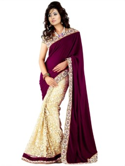 Sj Trendz Self Design Fashion Embroidery Velvet, Brasso, Net, Art Silk Sari