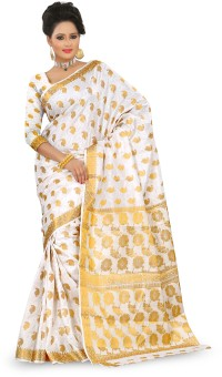 Mimosa Self Design Embellished Silk, Jacquard Sari