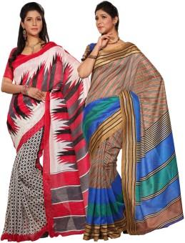 Combo Deals Printed, Striped Bhagalpuri Silk Sari (Pack Of 2)
