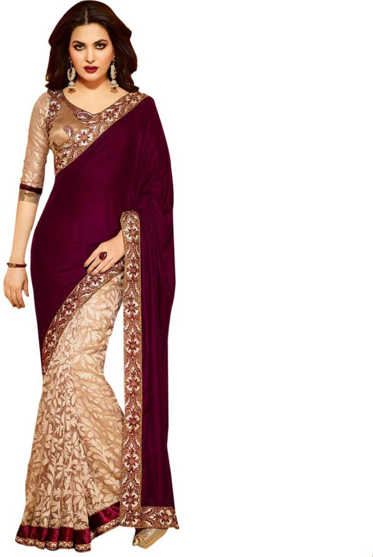 Self design solid floral print fashion georgette sari