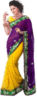 Sareeka Sarees Floral Print, Embriodered Bollywood Chiffon Sari