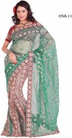Attire Printed Georgette, Net Sari