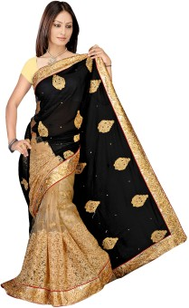 Glorysarees Self Design Embroidered Embellished Chiffon, Net Sari