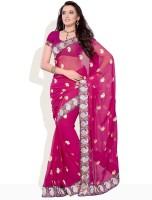 Diva Fashion Printed Embroidered Chiffon Sari