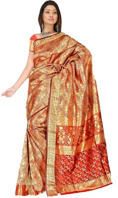 Fashion MGS Printed Fashion Silk Sari (Yellow)