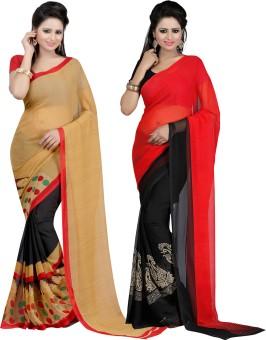 Bunny Sarees Printed Fashion Georgette Sari (Pack Of 2)