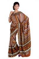 Cbazaar Striped Embroidered Embellished Art Silk Sari