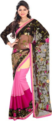 Fabdeal Printed Embroidered Embellished Net Sari