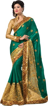 Mahavir Creation Self Design Embroidered Embellished Satin, Net Sari