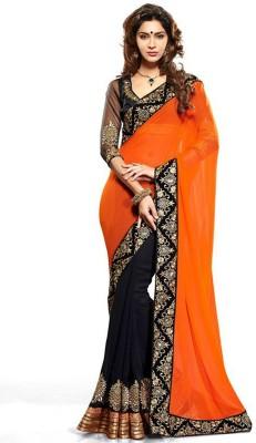 Arya Arya Fashion Self Design Fashion Georgette Sari (Orange)