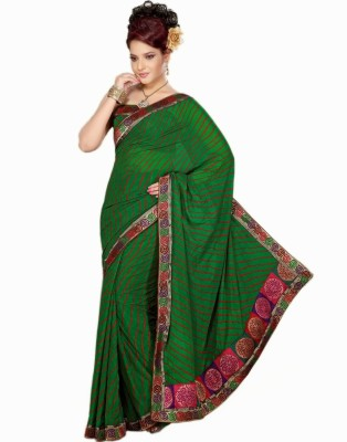 Saree Swarg Striped, Printed Chiffon Sari