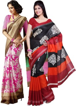 Ishin Printed Fashion Art Silk Sari (Pack Of 2)