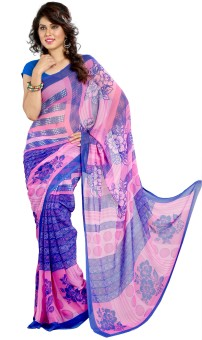 Heena Floral Print, Geometric Print Chiffon Sari
