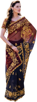Fabdeal Printed Embroidered Embellished Net Sari available at Flipkart for Rs.5709