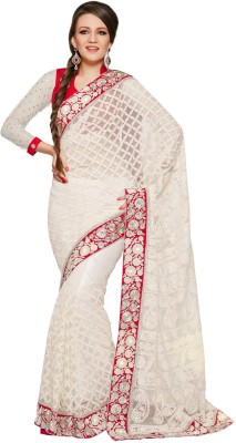 Fabdeal Checkered Embroidered Embellished Net Sari available at Flipkart for Rs.8189