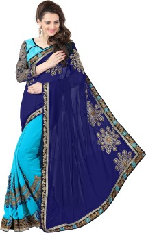 Amar Enterprise Embriodered Daily Wear Georgette Sari Dark Blue, Light Blue