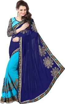 Amar Enterprise Embriodered Daily Wear Georgette Sari Dark Blue, Light Blue