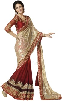 TheEthnicWear Floral Print Embroidered Embellished Georgette, Brasso Sari