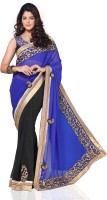 Chirag Sarees Solid Embroidered Embellished Georgette Sari