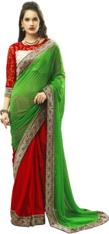 Admyrin Solid Embroidered Embellished Georgette, Satin Sari