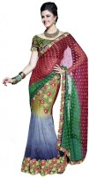 Fashionista Floral Print Embellished Net, Viscose Sari