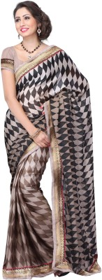 Tagbury Tagbury Self Design Fashion Chiffon Sari (Brown)