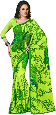 Taanshi Taanshi Floral Print Fashion Georgette Sari (Green)
