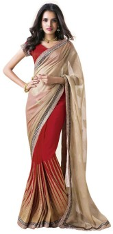 Sareeka Sarees Floral Print, Striped Bollywood Georgette Sari
