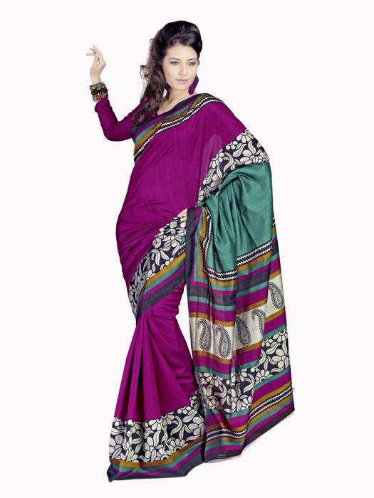 Sunaina Printed Cotton, Silk Sari