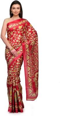 Studio Shubham Studio Shubham Floral Print Fashion Art Silk Sari (Maroon)