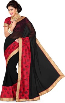 Saree Swarg Solid, Floral Print Bollywood Chiffon, Art Silk Sari