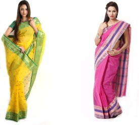 Brishti Creations Woven Tant Handloom Cotton Sari Pack Of 2