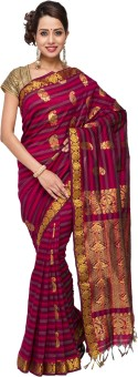Kamakshi Silks Striped, Self Design Cotton, Silk Sari