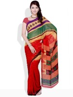 Satrang Geometric Print, Floral Print Synthetic Sari